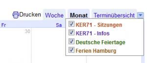 GoogleKalender - Kalenderauswahl